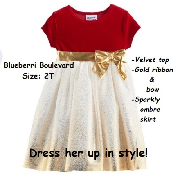 9f3d6256b5548 Toddler Dress Sparkle Red and Gold 2T Last One. NWT. Blueberi Boulevard